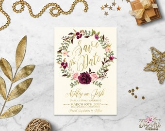 Boho Save the Date card Printable Save the Date Burgundy Blush Gold Floral Save the Date Rustic Peony Save the Date Digital files or Printed