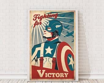 Captain America Retro Poster Art Film Poster Movie Poster