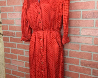 Vintage red & black polkadot dress size medium