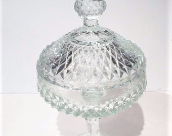 Indiana Glass Diamond Point Pedestal Compote with Lid, Vintage Glass Candy Bowl with Lid, Vintage Diamond Point Indiana Glass Candy Dish
