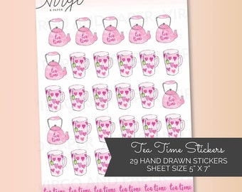 It's Tea Time! Tea Cups and Tea Kettle Hand-Drawn Tea Stickers for your Planner! Tea time sticker sheet - choose Matte or Glossy Stickers