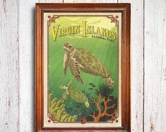 Virgin Islands poster, Virgin Islands National Park print, sea poster, Virgin Islands gift poster, Caribbean poster, turtle poster