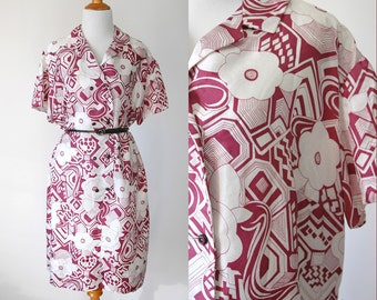 60s/70s Magenta and White Psychedelic Floral Print Sheath Dress - Funky Floral Dress - Size Extra Large XL