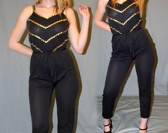 Vintage 70s Jumpsuit, 1970s Black Onesie,Disco Jumpsuit, Disco Dress 70s Jumpsuit, 70s Disco Outfit, High Waisted Jumpsuit, 70s Black Romper