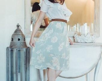 Usagi Collection - Midi Floral Skirt - Long Skirt - Chiffon - Elastic Waist Band Skirt - Light Green