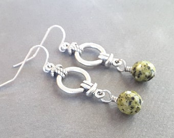 Silver Knots . Black Spotted Green Beads . Earrings