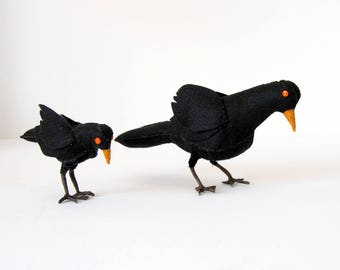 felt fabric black bird crow