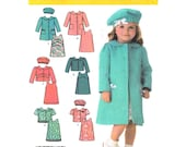 Girls Sewing Pattern Simplicity 4712 Peter Pan Collar Coat or Jacket, Dress, Beret Hat Toddler Girls Size 1/2 1 2 3 4 UNCUT