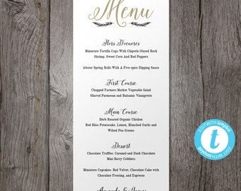 Printable Wedding Menu Template, Printable Menu, Wedding Dinner Menu, Instant Download, Edit in Our Web App, Digital File