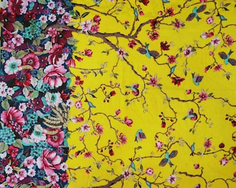 "Indian Dress Fabric, Floral Print, Yellow Fabric, Decor Fabric, Sewing Craft, Quilt Material, 45"" Inch Cotton Fabric By The Yard ZBC7110B"
