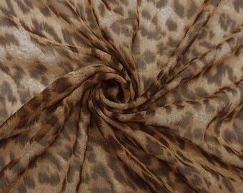 "Apparel Fabric, Leopard Print, Off White Fabric, Sewing Crafts, Quilt Fabric, 47"" Inch Chiffon Fabric By The Yard ZBCH136C"