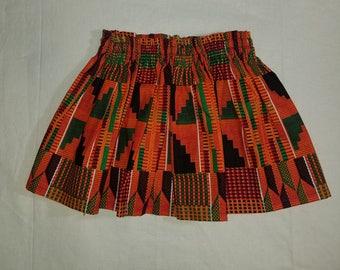 Orange Kente High waist style - baby and toddler skirts
