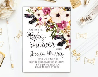 Floral Baby Shower Invitation Pink baby shower invite chicks Printable floral invitation Digital baby shower invitation Boho Floral invite