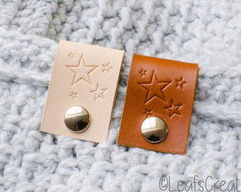 2, 4 or 8 Pieces Leather labels big with snap fastener with stars - naturel or cognac color - choose your quantity