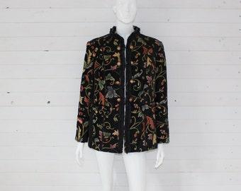 Women's Black Multicolored Acti Blazer Tapestry Cardigan Big Women