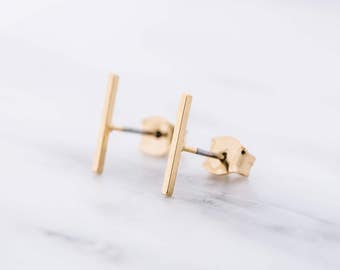 Line Earrings / Bar Earrings / Minimal Earrings / Minimalist Earrings / Line Stud Earrings