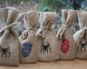 Small Rustic Hessian Burlap Marvel's Spider-Man Geek Comic Book Wedding Birthday Party Gift Bags Pouches W9 x H15cm (3.5