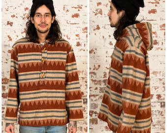 Vintage Wool Pullover Hoodie Sweater / Aztec Pattern / Size L