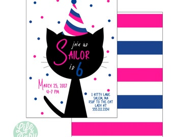 Kitty Cat Birthday Party Invitation | Cat Invitation | Kitty Invitation - 5x7 with reverse side