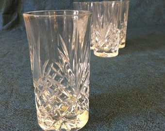 Vintage Clear Glass Pineapple Tumblers, Set of 4