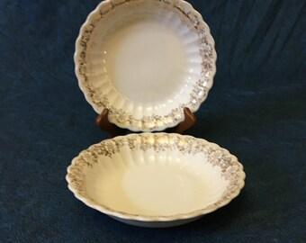 Vintage American Limoges Fresno Gold 22K Gold Trimmed Roses Rimmed Soup Bowl, Set of 2