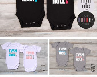 Boy Girl Twin Outfits, Set of 2 Matching Baby Bodysuits, Twin Boy And Girl Outfits, Twin Boy Girl Matching Clothes, Twin Gifts, Twin Outfits