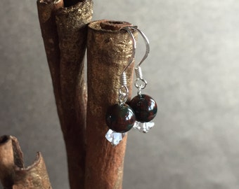 Bloodstone and Herkimer Diamond Earrings