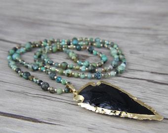Black arrow pendant necklace Turquoise Bead necklace African turquoise bead necklace Satement necklace Long bead necklace Yoga necklaceNL032