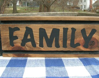 Family Wood Sign - Shelf Decoration - Handpainted Black and Brown - Wall Hanging, Family Room, Den, Kitchen