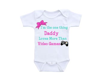 Video Game Baby Onsie or Gerber Onesie® Video Game Onesie® Daddy Daughter Daddy Onesie® Daddy Gifts Onesies® for Girls Baby Girl Shower
