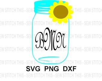 Mason jar svg, Southern jar, Sunflower svg, Monogram frame, Summer svg, Monogram svg, Flower svg, png, dxf, Jar svg