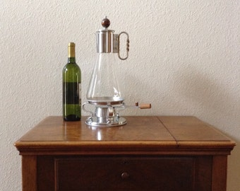 Vintage Glass and Chrome Coffee Pot with Warming Stand