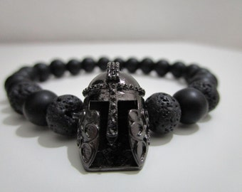 Bracelet Spartan, Spartan Bracelet Onyx and Lava volcanic, bracelet with stones, bracelet for man, gift for man, Spartan jewelry