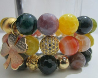 Set 3 gemstones agate bracelets,Bracelet oe Indian Agate,Agate yellow veins of dragon, Agate fire, Clover pendant, gift for woman