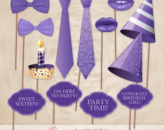 Sweet 16, Sweet 15, Photo Booth Props, Birthdays, Victorian, Photo-booth Props (Hand Cut)