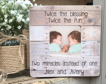 Gift for twins twin gift twins onesie twins shirts on sale twins picture frame twin gift twin girls twin boys twin babies personalized picture frame negle Choice Image