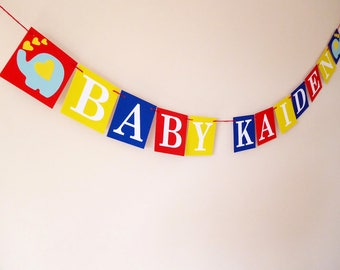 Personalised baby name bunting, elephant bunting, baby shower bunting, welcome baby bunting, gift