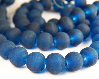 15 Inch Strand - 10mm Round Transparent Marine Blue Frosted Glass Beads - Sea Glass Beads - Glass Beads - Dark Blue Beads - Jewelry Supplies