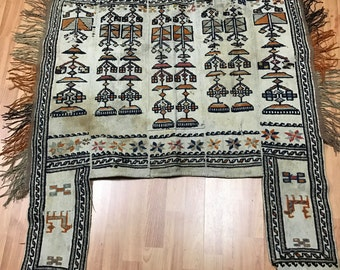 "3' x 3'9"" Antique Persian Kilim Horse Saddle Oriental Rug - 1930s - Hand Made - 100% Wool"