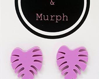 Laser Cut Acrylic Monstera Leaf Earrings Studs