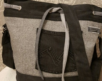 Jeans and felt bag
