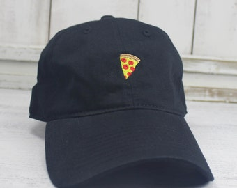 Pizza Embroidered Dad Hat Baseball Cap Curved Bill 100% Cotton Hot Pizza Foodie