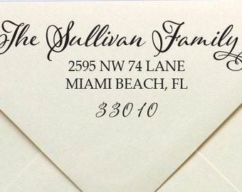 Family Address Stamp, Elegant Address Stamp, Elegant Calligraphy Address, Custom Address Stamp