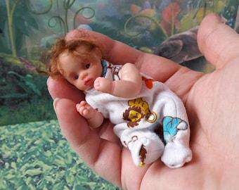 Sold!!OOAK polimer clay miniature babyboy doll 3.1, handmade,mini babies,doll, doll handsculpt, mini doll, polimer clay doll, baby doll