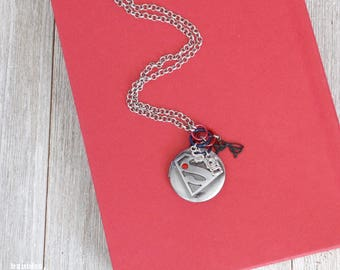 "Silver ""Supergirl"" Locket Set | Super Hero Jewelry | Single Strand Design"