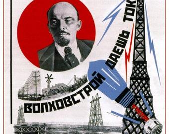 Soviet propaganda print Lenin and electrification vintage USSR repro
