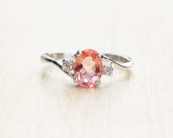Morganite Ring, Silver Morganite Ring, Pink Quartz Ring, Quartz Ring, Peach Topaz Ring, Sterling Silver Ring