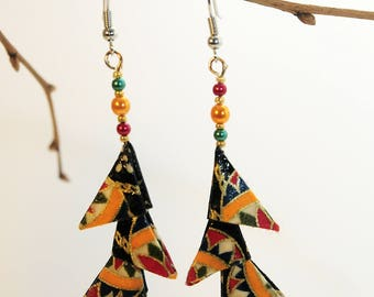"""Triangles black patterned Brazilians"" origami earrings"