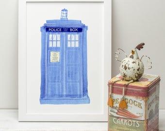 Doctor Who Police Box Tardis Illustrated Print