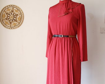 Cherry Red Japanese Vintage Dress, 70s Long sleeve High neck Fall leaf dress, Small 3951
